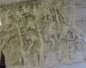 Roman soldiers cutting trees
