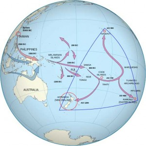 Human colonisation of the Pacific Ocean. Source: Wikimedia Commons