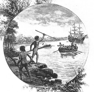 Cook meets Native Australians, 1770