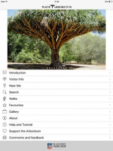 The Wait Arboretum App interface